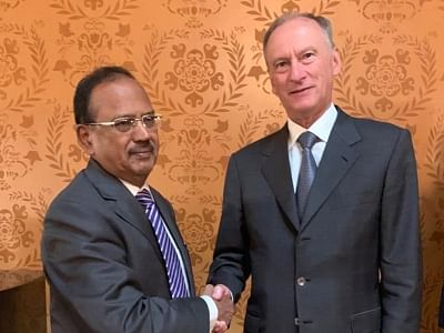 New Delhi: National Security Advisor Ajit Doval meets his Russian counterpart Nikolai Patrushev in Moscow. (Photo: IANS)