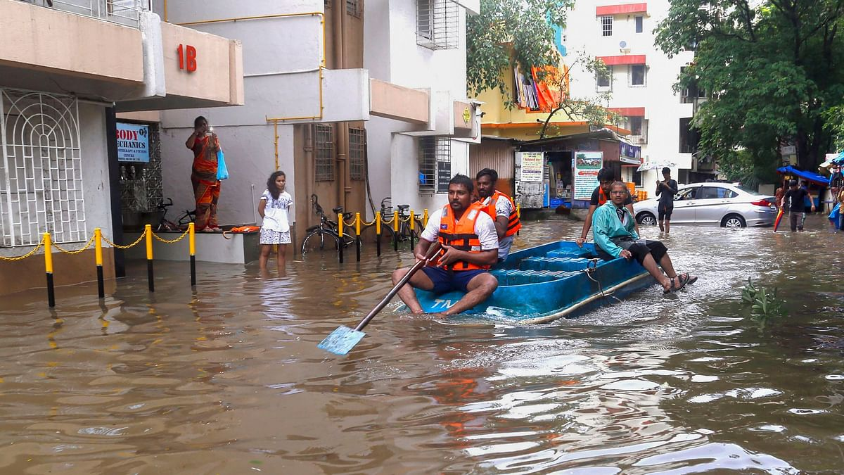 A waterlogged street in Thane after heavy rains on 3 August.
