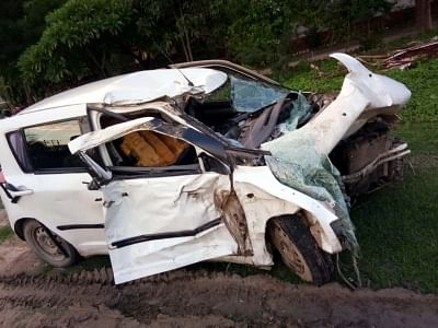 Rae Bareli: The wreckage of the car in which the Unnao rape survivor and her relatives in Rae Bareli on July 28, 2019. On Sunday, the rape victim, who had accused BJP MLA Kuldeep Sengar of raping her in 2017, was travelling to Rae Bareli with her lawyer Mahendra Singh and two relatives when a truck hit them. Both the rape victim and the lawyer have been on life support since the accident while the two other woman in the car, including one who was a witness to the crime, died. (Photo: IANS)