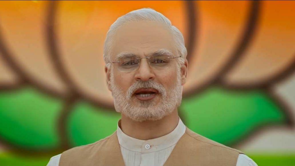 Vivek Oberoi as Narendra Modi in <i>PM Narendra Modi</i>.