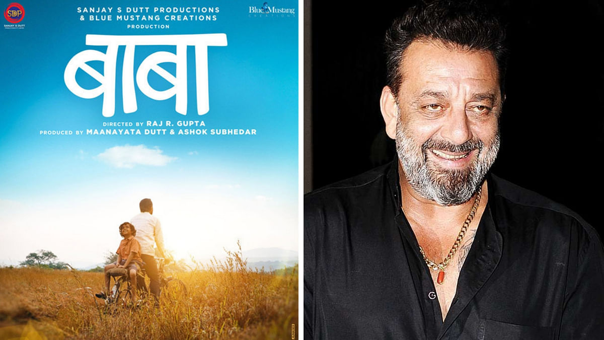A poster for <i>Baba</i> (L), Sanjay Dutt (R).