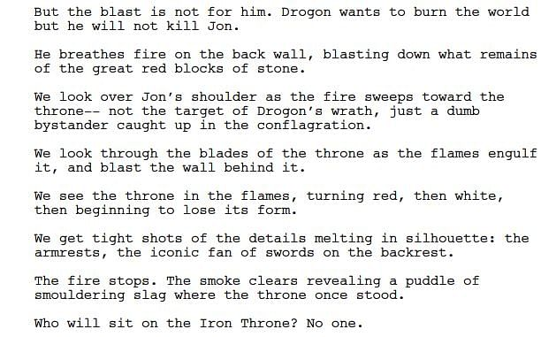 The excerpt from the episode in which Daenerys dies.