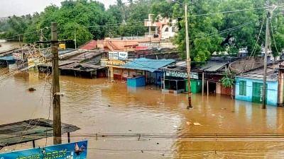 Belagavi: A view of flooded Belagavi-Bagalkot Road near Belagavi following heavy rains in North Karnataka on 7 August 2019.