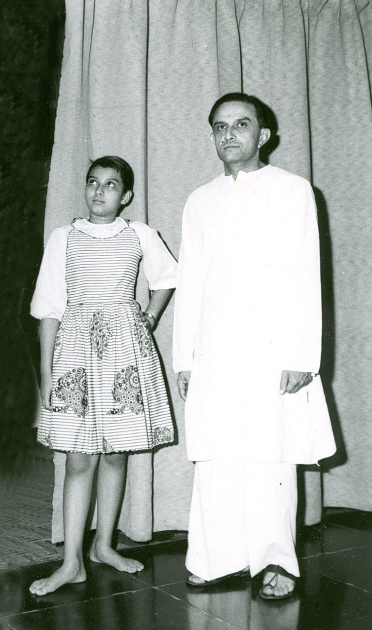A young Mallika with her father Vikram Sarabhai.