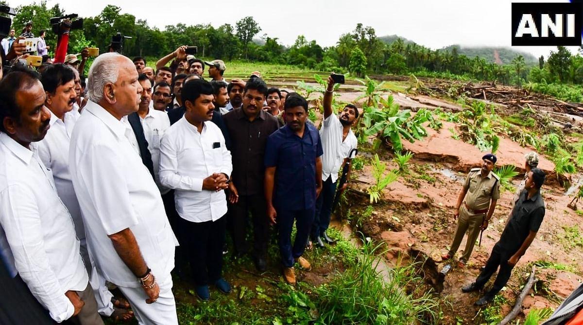 Karnataka CM BS Yediyurappa reviews a landslide in Karnataka's Shivamogga.