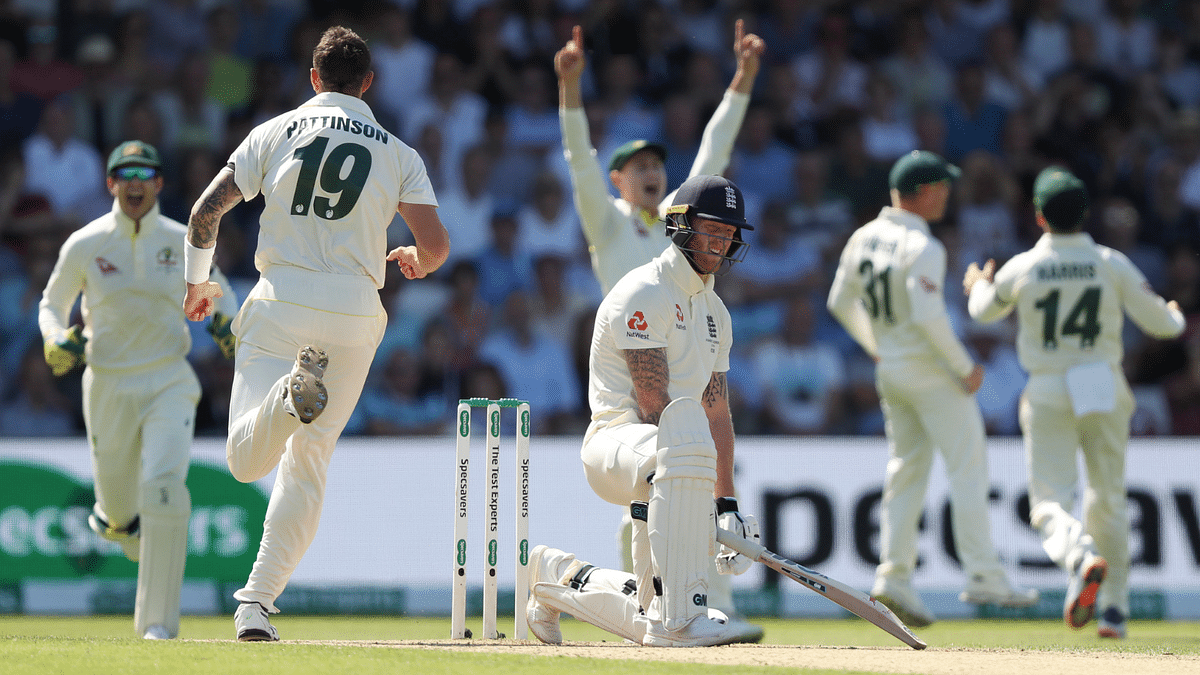 Ben Stokes chased after a very wide one from Pattinson, only to nick it behind.