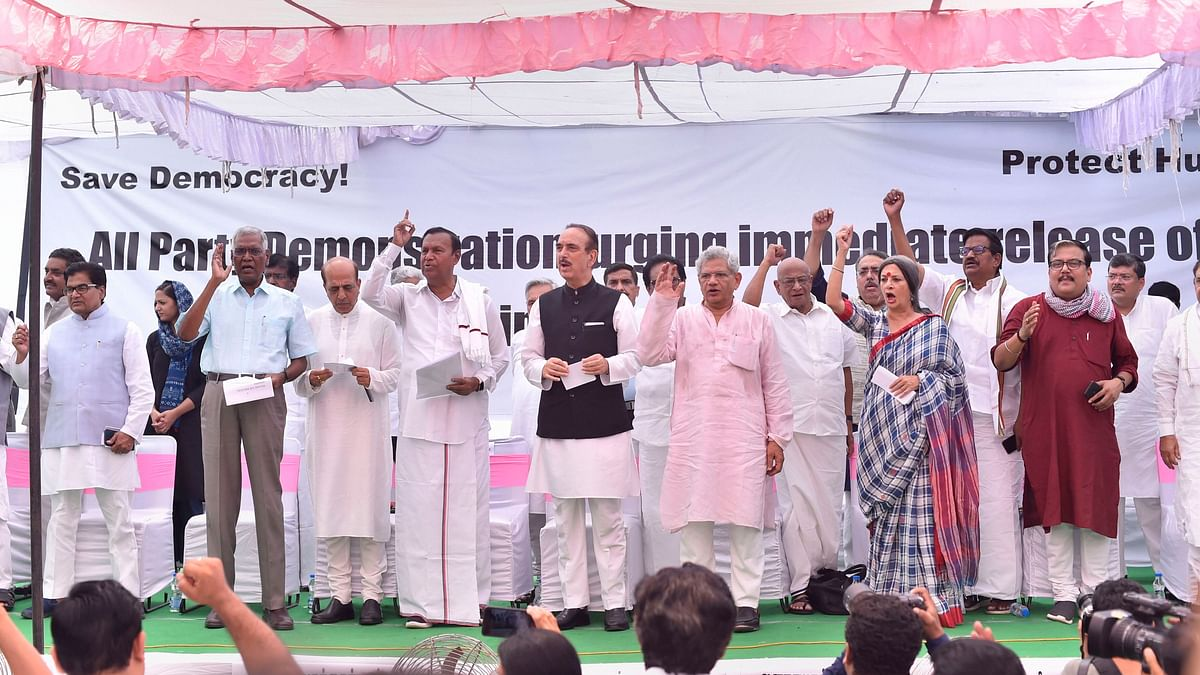 Opposition Parties Protest, Demand Release of Detained J&K Leaders