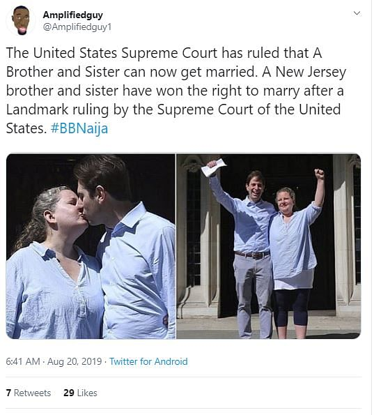 US Court Allows Brother & Sister to Get Married? It's Fake News