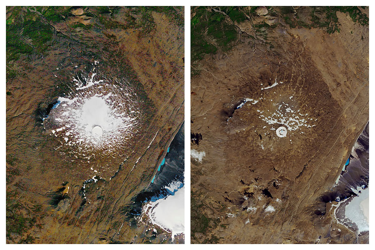 This combination of 14 September 1986, left, and 1 August 2019 photos provided by NASA shows the shrinking of the Okjokull glacier on the Ok volcano in west-central Iceland. A geological map from 1901 estimated Okjökull spanned an area of about 38 square kilometers (15 square miles). In 1978, aerial photography showed the glacier was 3 square kilometers. In 2019, less than 1 square kilometer remains.