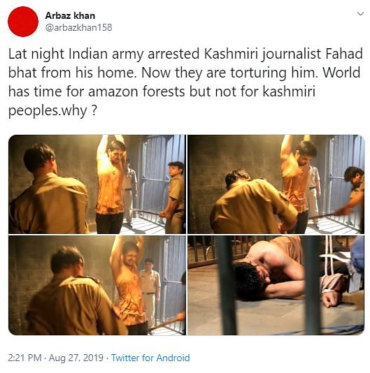 Screen grab of the tweet alleging the arrest and torture of a Kashmiri journalist named Fahad Bhat.