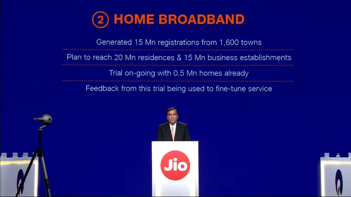 Home broadband from Jio will make its way to consumers in the next 12 months.
