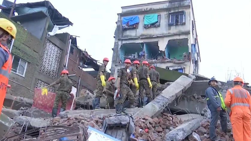 Two people were killed while five others were injured after a four-storey building collapsed in Shanti Nagar area of Mumbai's Bhiwandi.