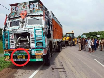 Rae Bareli: The truck that rammed into a car carrying Unnao rape survivor and her relatives in Rae Bareli on July 28, 2019. On Sunday, the rape victim, who had accused BJP MLA Kuldeep Sengar of raping her in 2017, was travelling to Rae Bareli with her lawyer Mahendra Singh and two relatives when a truck hit them. Both the rape victim and the lawyer have been on life support since the accident while the two other woman in the car, including one who was a witness to the crime, died. (Photo: IANS)