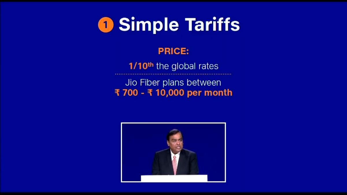 Mukesh Ambani, announcing Jio Fiber pricing in India.