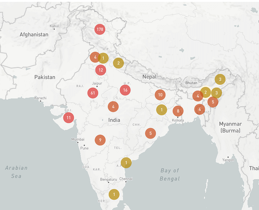 The map shows the 178 reported Internet shutdowns in Jammu and Kashmir as of 9 August 2019, significantly higher than any other state.