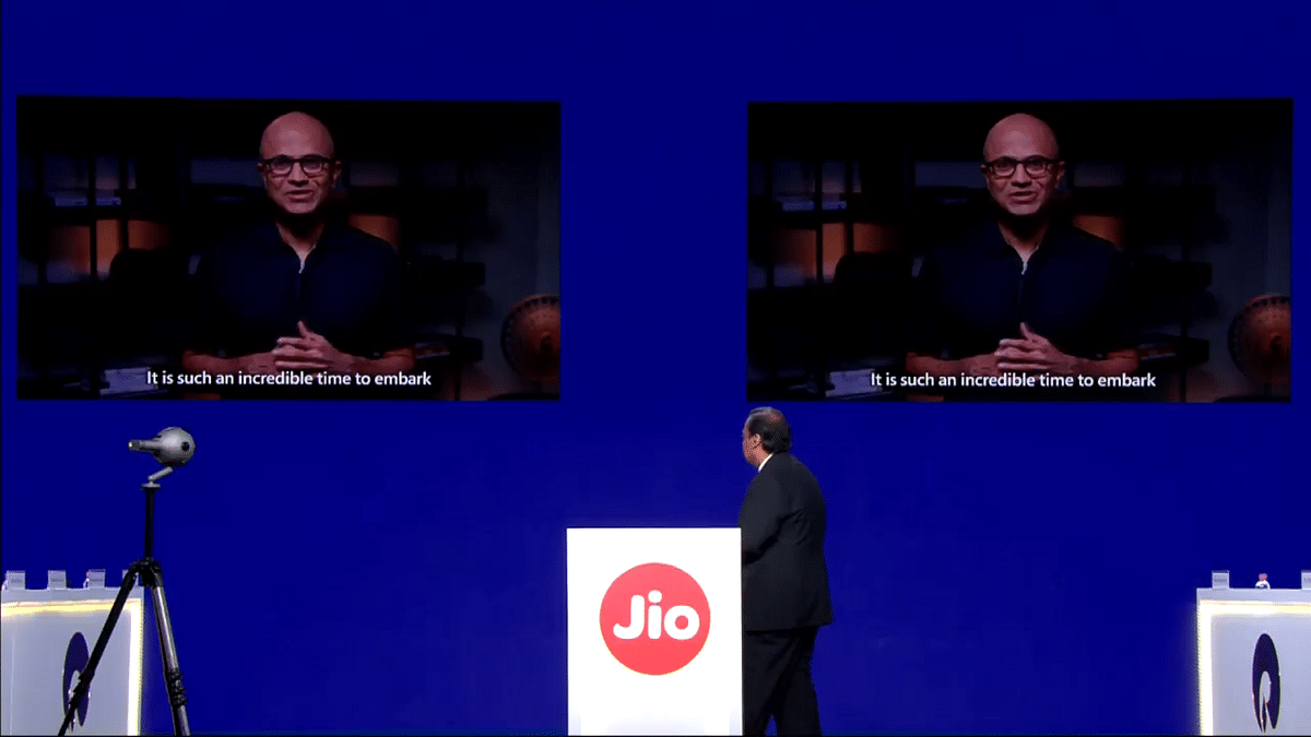 Microsoft CEO Satya Nadella addresses the Reliance AGM through a video conference.