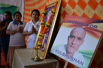 Mumbai: Friends of Kulbhushan Jadhav, a Mumbaikar who is facing death sentence in Pakistan, pray for his release, in Mumbai on July 17, 2019. The International Court of Justice (ICJ) will deliver its judgement on Wednesday evening on India