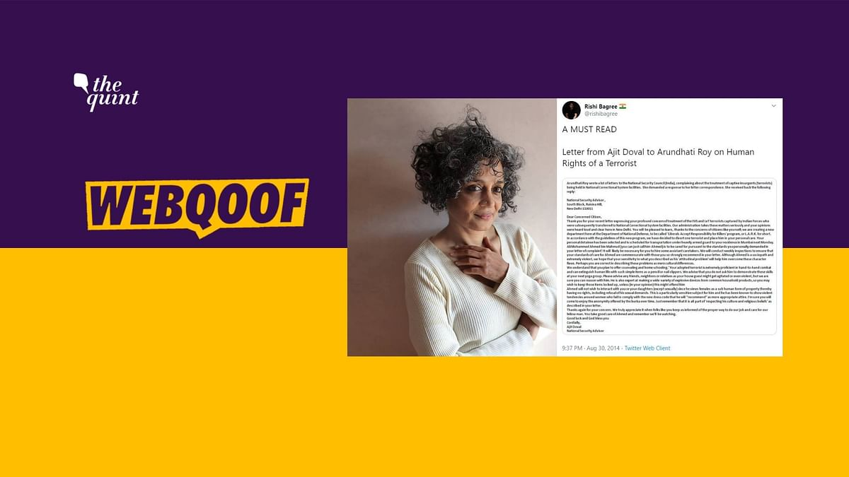 Arundhati Roy's Letter on Terrorists & Doval's Reply Are Both Fake