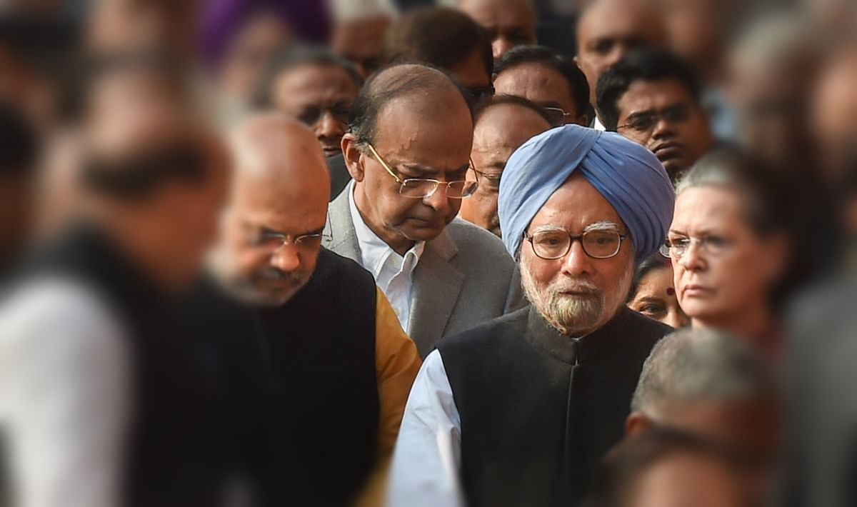 Rajnath Singh, Amit Shah, Manmohan Singh, Sonia Gandhi, Arun Jaitley and others at a ceremony on December 13, 2018.