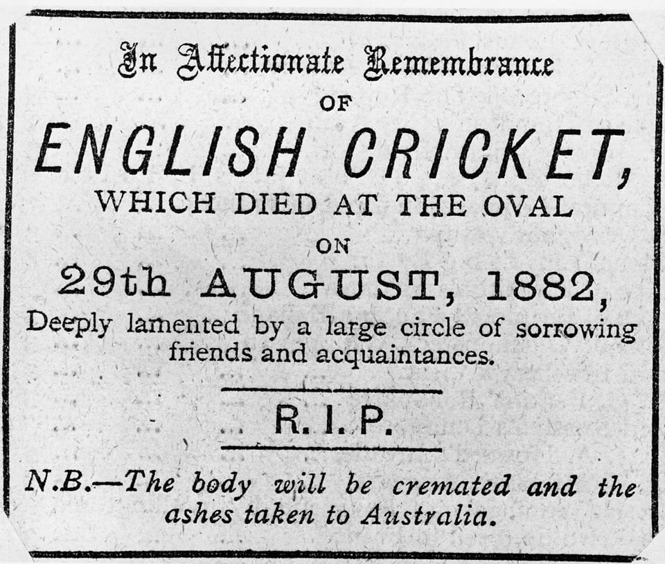 A British newspaper had carried a mock obituary in 1882 after Australia's victory over England at The Oval.