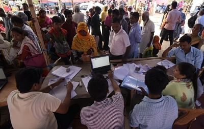 Nagaon: Residents whose names were left out in the draft National Register of Citizens (NRC) get their documents checked during an appeal hearing against the non-inclusion of names at an NRC office in Assam