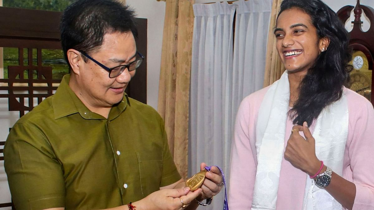 Sports Minister Kiren Rijiju presented Sindhu with a Rs 10 lakh cheque for her historic triumph at the World Championships in Basel.