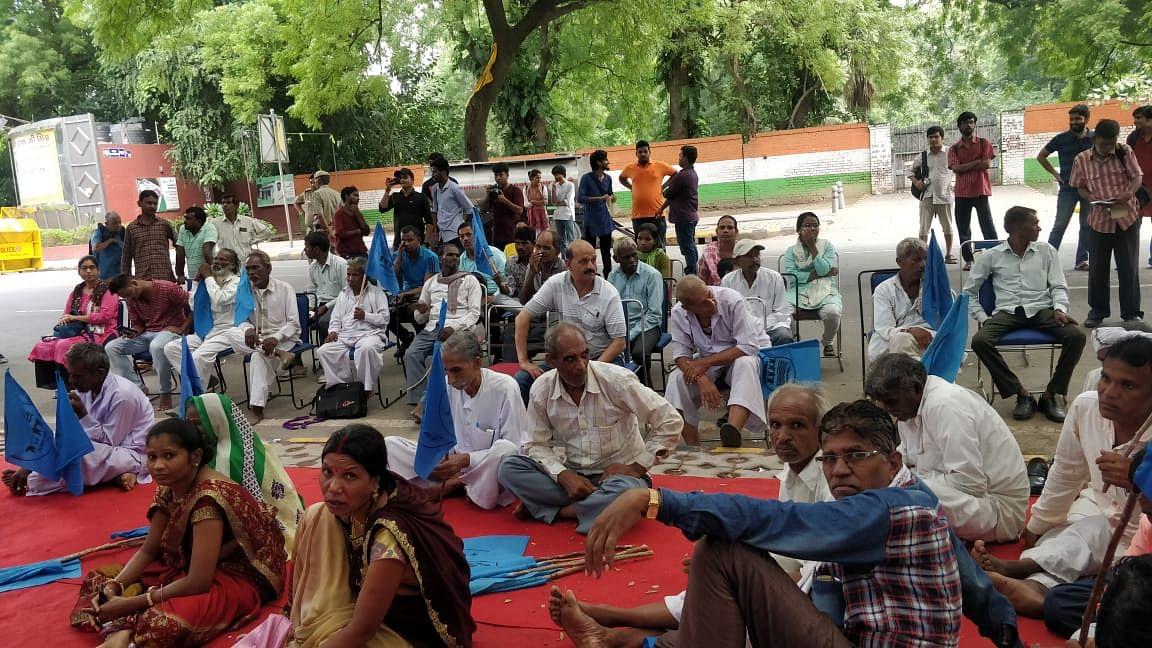 Protestors at Jantar Mantar in New Delhi.