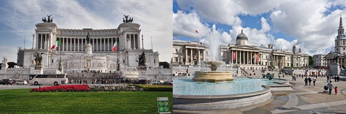 Piazza Venezia in Rome (Left) and Trafalgar Square (Right).