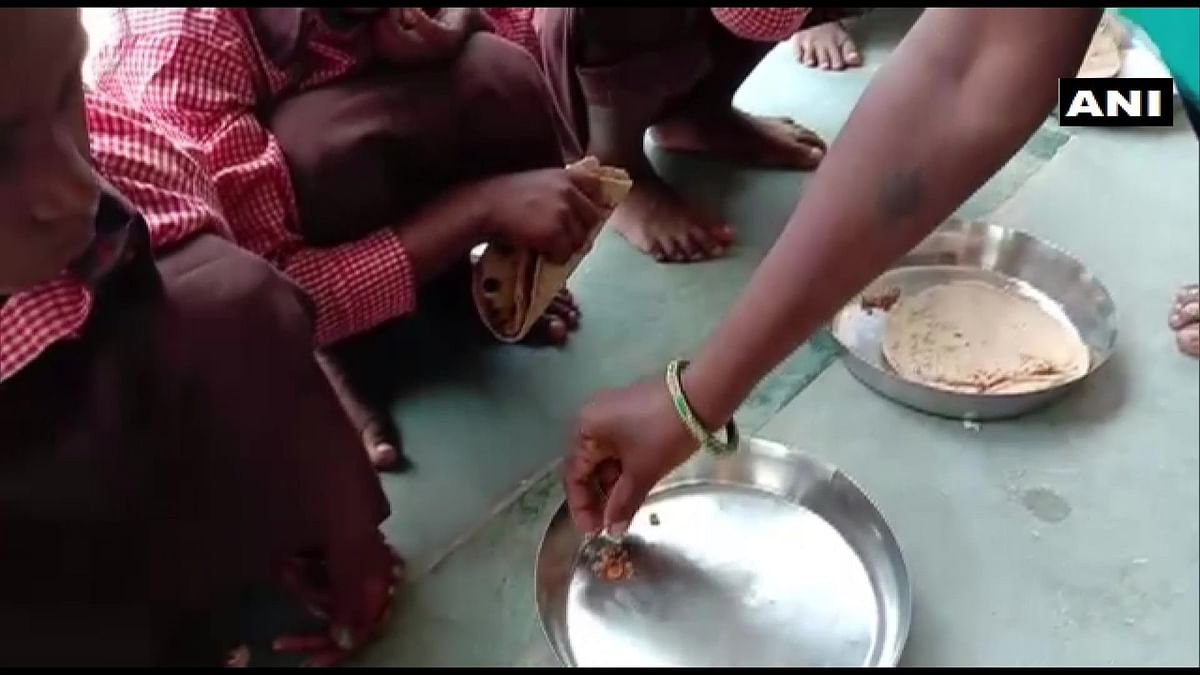 Primary schoolchildren in Mirzapur were served roti and salt as mid-day meals.