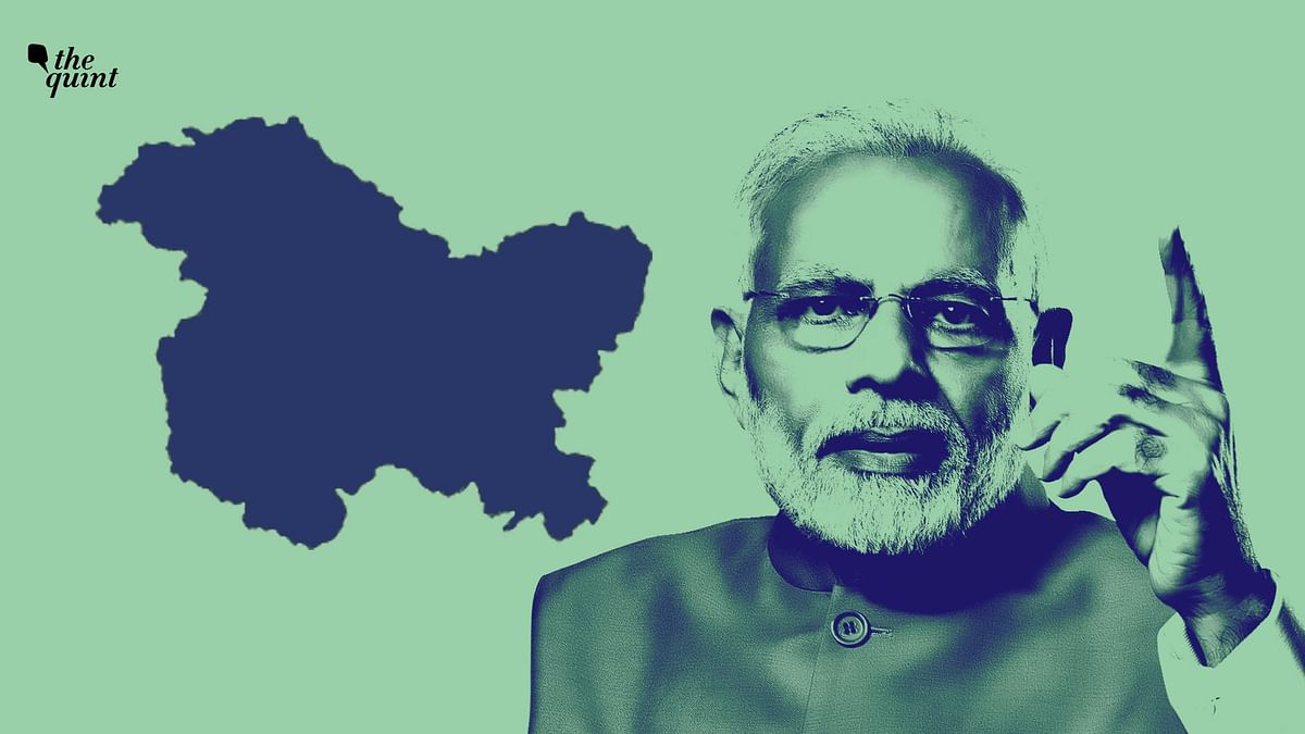 Image of PM Modi and map of J&K used for representational purposes.