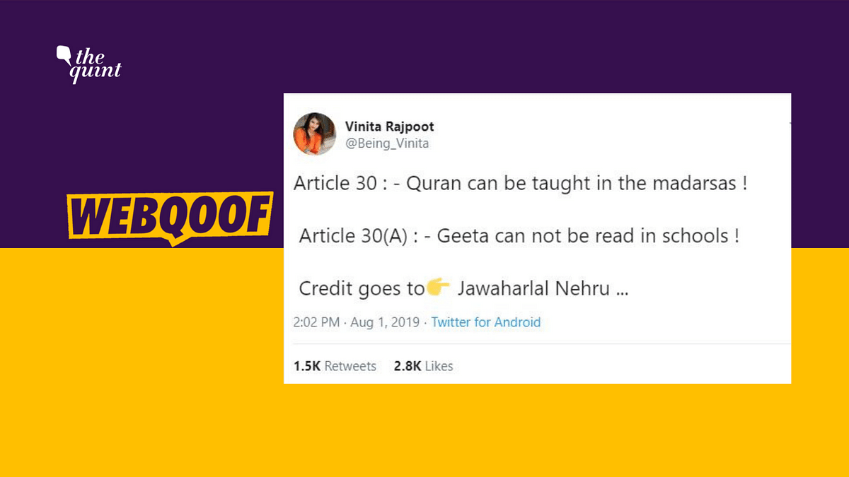 There's No Article 30(A) That Says Gita Can't Be Taught in Schools