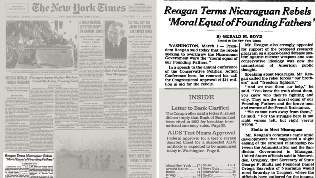 The full page of the NYT and the article about Reagan.