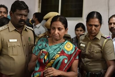 Chennai: Nalini Sriharan, a convict in the Rajiv Gandhi assassination case who is out on one-day parole after her father passed away at her house in Chennai on Feb 24, 2016. (Photo: IANS)