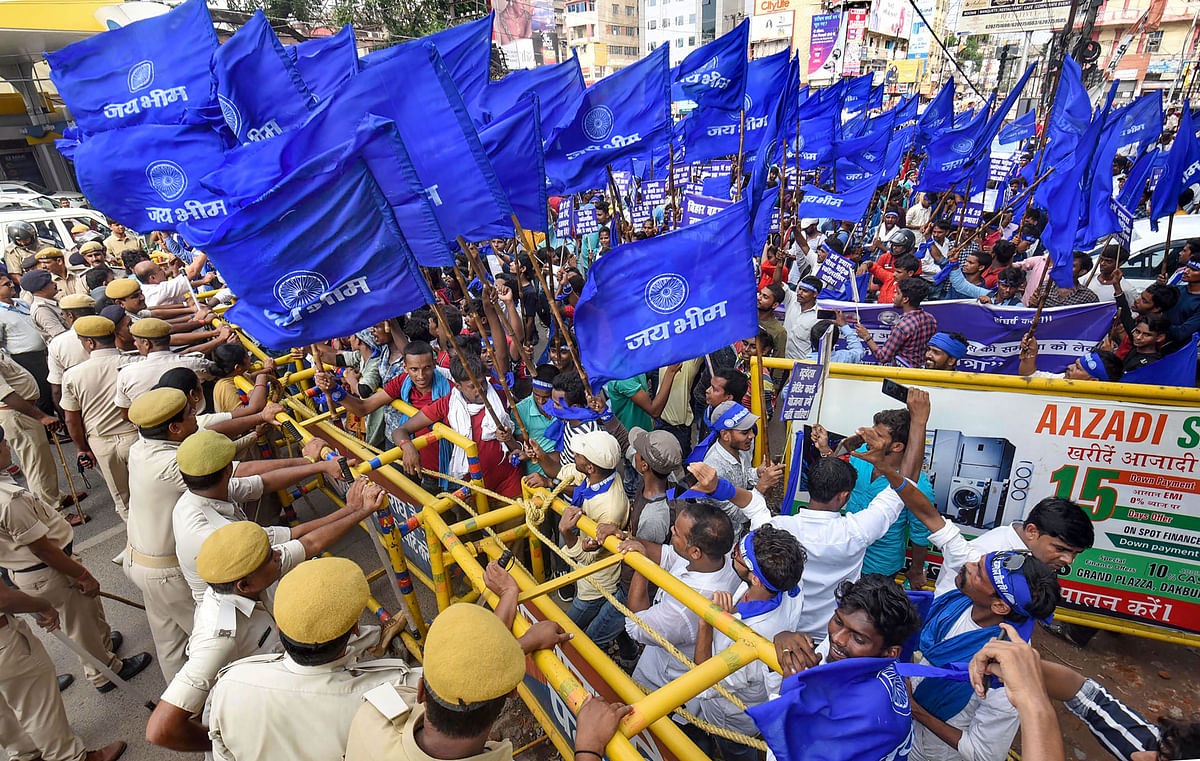 Police stop the activists of Bihar Bahujan Nyay Manch during Adhikar Yatra, organised in support of their various demands, in Patna.
