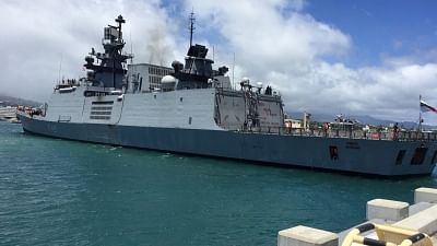 Hawaii: INS Sahyadri, that is set to participate in RIMPAC 2018 multinational exercise enters Pearl Harbour , Hawaii in US, on June 26, 2018. (Photo: IANS/Indian Navy)