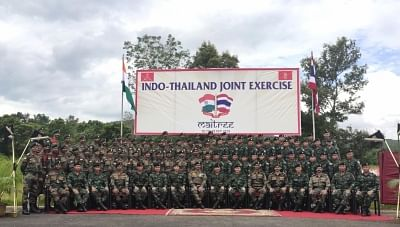 Umroi: The Indian Army led by Colonel Rahul Joshi and Royal Thai Army led by Colonel Thiradej Limkunagul during their latest joint exercise in Umroi, Meghalaya on Sep 16, 2019. A total of 100 troops from the Indian Army and 45 troops of Royal Thai Army are taking part in the 14-day Exercise MAITREE which is slated to last till September 29. (Photo: IANS)