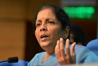 New Delhi: Union Finance and Corporate Affairs Minister Nirmala Sitharaman addresses a press conference in New Delhi on Sep 14, 2019. (Photo: IANS)