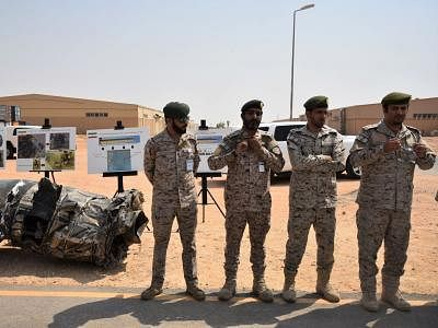 RIYADH, Sept. 5, 2019 (Xinhua) -- Saudi army officers are seen at a military facility in Al Kharj, south of Riyadh, Saudi Arabia, on Sept. 5, 2019. Saudi-led coalition involved in a war in Yemen on Thursday intercepted a drone launched by Houthis towards Saudi border city Khamis Mushayt, Saudi Press Agency reported. (Xinhua/Tu Yifan/IANS)