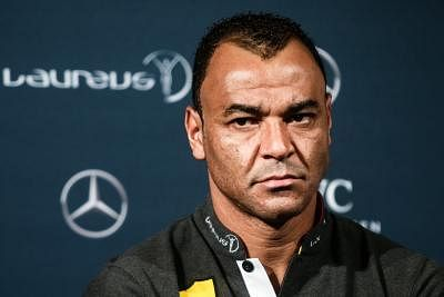 BERLIN, April 18, 2016 (Xinhua) -- Former Brazilian football player Cafu attends a press conference prior to the 17th Laureus World Sports Award ceremony in Berlin, Germany, April 18, 2016. (Xinhua/Zhang Fan/IANS)