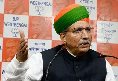 Kolkata: Union Minister Arjun Ram Meghwal addresses a press conference at the West Bengal BJP headquarters in Kolkata on Sep 5, 2019. (Photo: IANS)