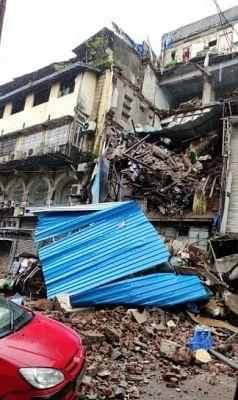 Mumbai: A building at Lohar Chawl that collapsed following heavy rains in Mumbai, on Sep 20, 2019. (Photo: IANS)