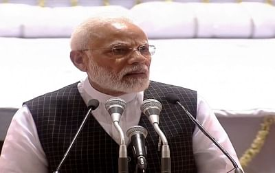 New Delhi: Prime Minister Narendra Modi addresses during a condolence meet organised in the remembrance of Former Finance Minister Arun Jaitley, in New Delhi on Sep 10, 2019. (Photo: IANS)