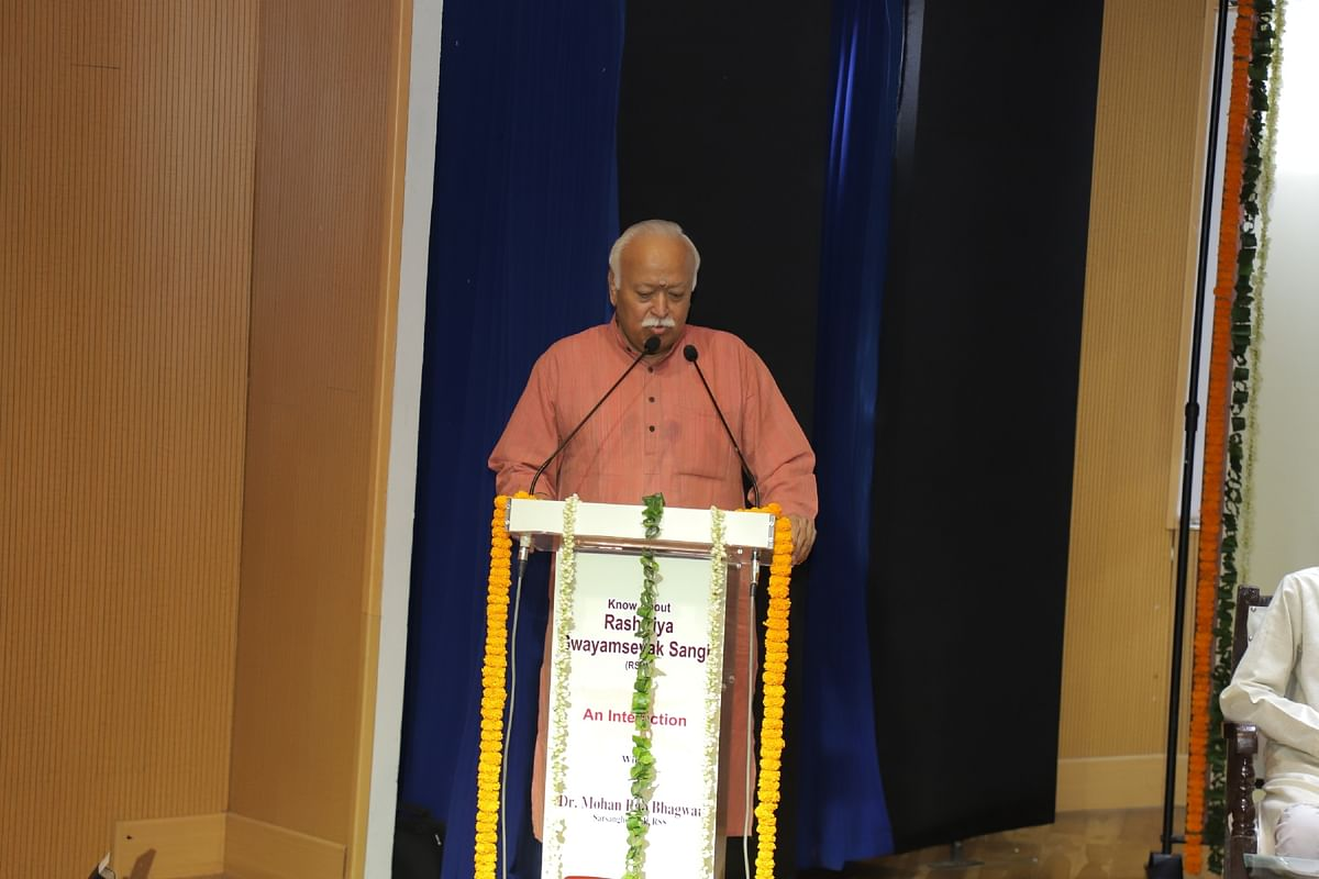 """Image of RSS sarsangchalak, Mohan Bhagwat, at the """"closed door"""" event with foreign press on 24 September."""