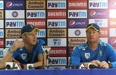 Dharamsala: South African cricketer David Millar accompanied by coach Lance Klusener, addresses a press conference on the eve of the first T20I match against India, at Himachal Pradesh Cricket Association Stadium in Dharamsala on Sep 14, 2019. (Photo: Surjeet Yadav/IANS)