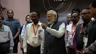 Bengaluru: Prime Minister Narendra Modi motivates scientists at ISRO Centre after communication was lost from Vikram  Lander that was scheduled to land on the moon; in Bengaluru on Sep 7, 2019. (Photo: IANS/ISRO)