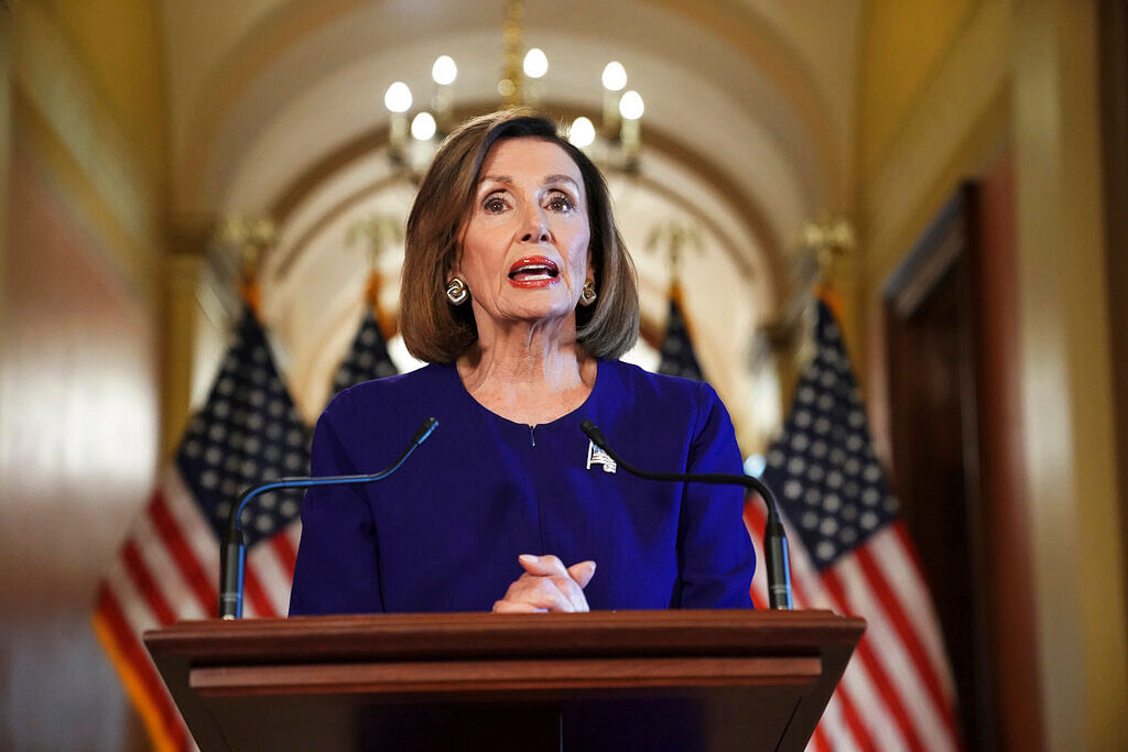 House Speaker Nancy Pelosi of California, reads a statement announcing a formal impeachment inquiry into President Donald Trump, on Capitol Hill in Washington, on Tuesday, 24 Sept 2019.