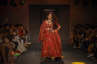 Mumbai: Actress Genelia Deshmukh walks the ramp for fashion designer Saroj Jalan on Day 5 of the Lakme Fashion Week Winter/Festive 2019 in Mumbai on Aug 25, 2019. (Photo: IANS)
