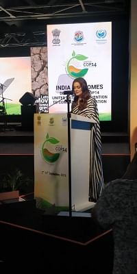 Actress Dia Mirza addresses during the 14th Conference of Parties (COP14) to United Nations Convention to Combat Desertification (UNCCD) in Greater Noida, Uttar Pradesh on Sept. 9, 2019.