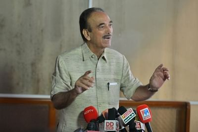 New Delhi: Leader of Opposition in Rajya Sabha Ghulam Nabi Azad talks to press at Parliament in New Delhi on Aug 6, 2019. (Photo: IANS)