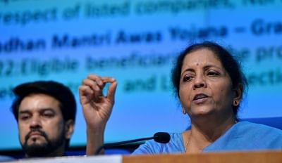 New Delhi: Union Finance and Corporate Affairs Minister Nirmala Sitharaman accompanied by Union MoS Finance and Corporate Affairs Anurag Thakur, addresses a press conference in New Delhi on Sep 14, 2019. (Photo: IANS)